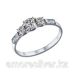 Кольцо SOKOLOV серебро с родием, фианит swarovski , дорожка 89010007 размеры - 16 16,5 17 17,5 18