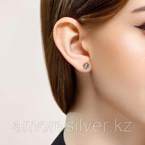 """Серьги SOKOLOV серебро с позолотой, фианит swarovski , """"каратник"""" 89020082 - фото 3"""