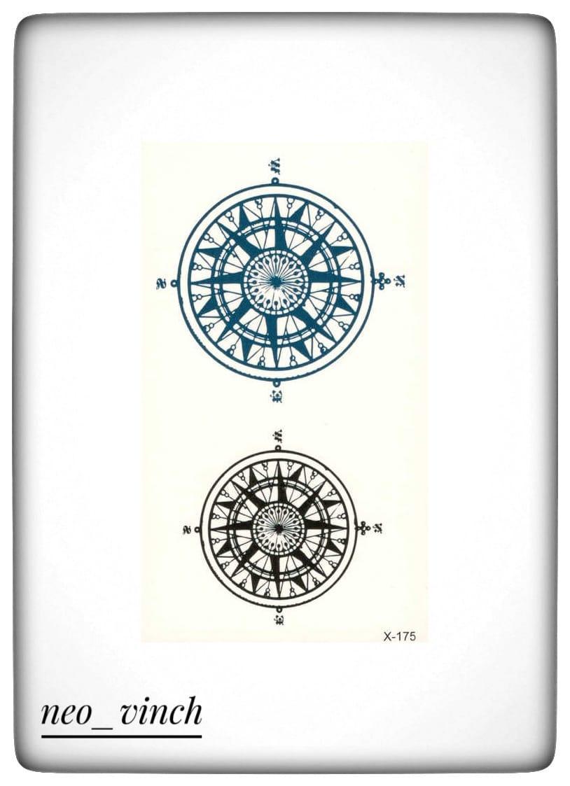 """Водостойкая временная тату-наклейка """"Компас"""""""
