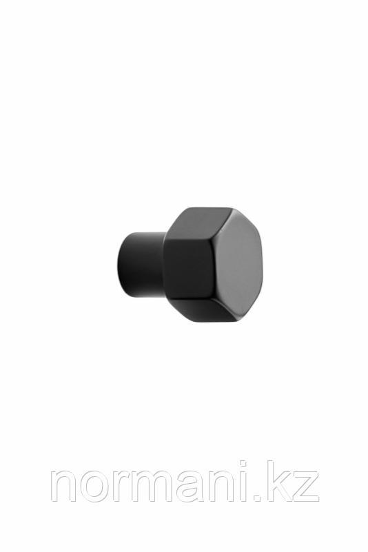 Мебельная ручка кнопка HEXA d.24мм, отделка черный матовый