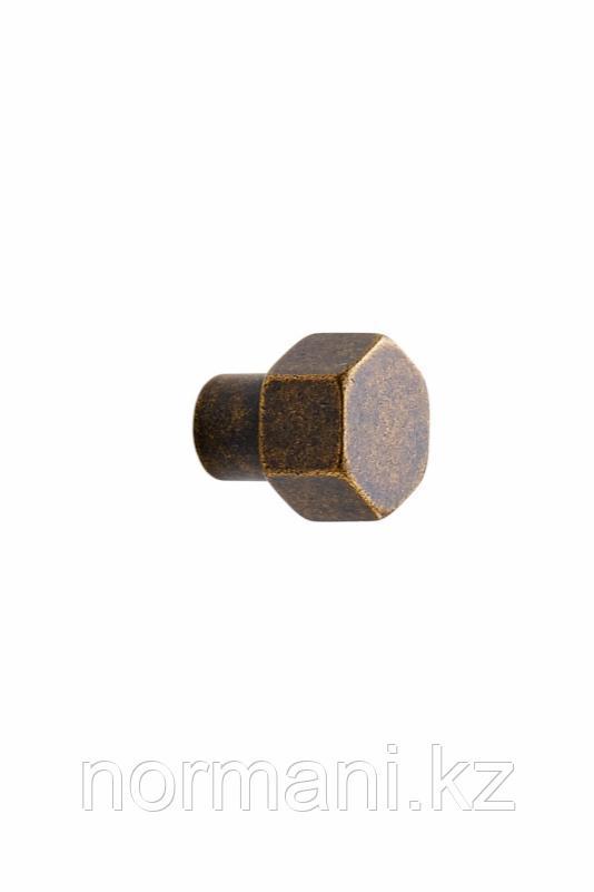 Мебельная ручка кнопка HEXA d.24мм, отделка золото темное