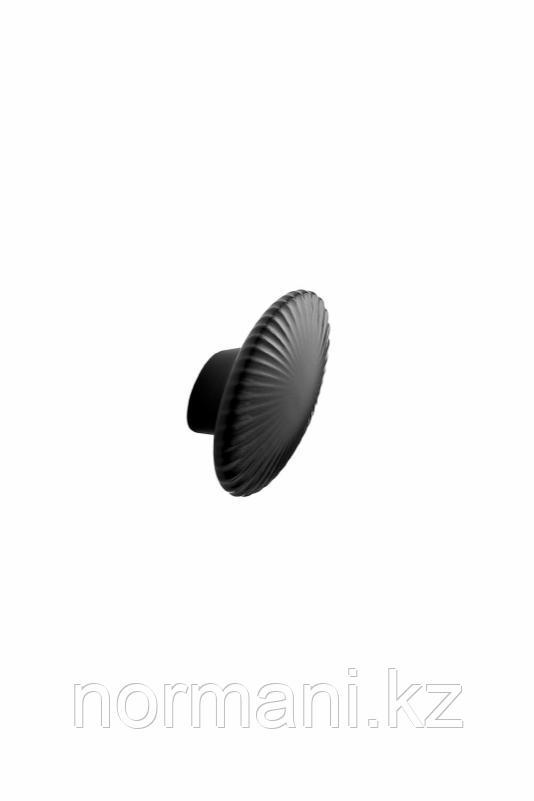 Мебельная ручка кнопка HALO d.75, отделка керамика черная