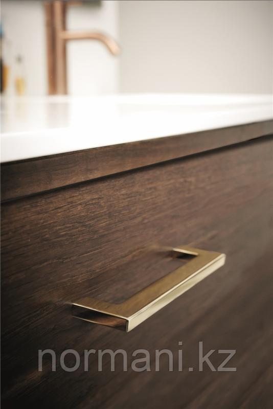 Мебельная ручка скоба 128мм FLAT, отделка золото глянец