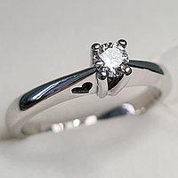 Золотое кольцо с бриллиантами 0.15Сt VS1/H, EX - Cut, фото 1