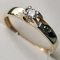 Золотое кольцо с бриллиантами 0.10Сt SI2/J, EX - Cut, фото 1