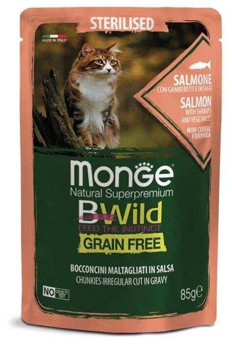 Monge BWild Корм для стерилизованных кошек с лососем