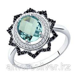 """Кольцо SOKOLOV серебро с родием, кварц синт. фианит , """"halo"""" 92011278 размеры - 16,5 17 17,5 18,5"""