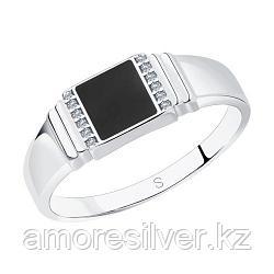 Печатка SOKOLOV серебро с родием, эмаль фианит  94011324 размеры - 18 18,5 19 19,5 20 20,5 21 21,5 22 22,5 23