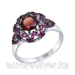 Кольцо SOKOLOV серебро с родием, гранат корунд синт., флора 92011351 размеры - 16,5