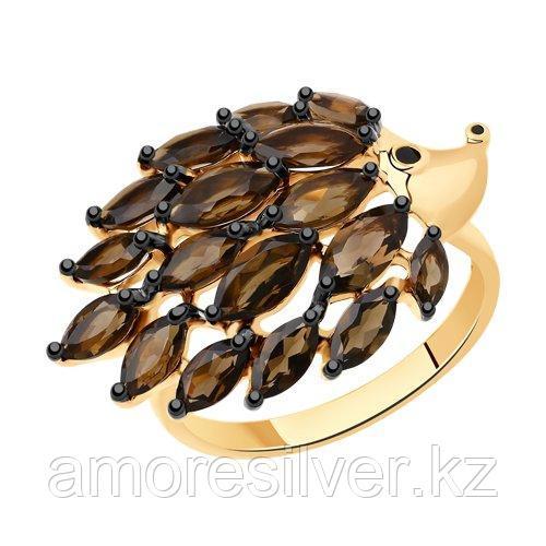 Кольцо SOKOLOV серебро с позолотой, раух-топаз эмаль, фауна 92011429 размеры - 16,5 17,5