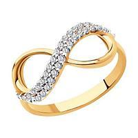 Кольцо SOKOLOV серебро с позолотой, фианит 93010391 размеры - 16 16,5 17 17,5 18 18,5
