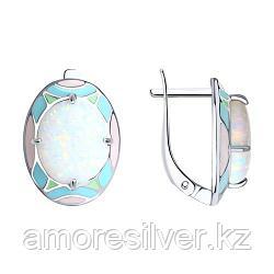 Серьги SOKOLOV серебро с родием, опал синт. эмаль, абстракция 83020039