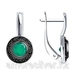 Серьги SOKOLOV серебро с родием, агат зеленый фианит , круг 92021545