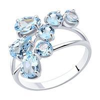 Кольцо SOKOLOV серебро с родием, топаз, фантазия 92010008 размеры - 16,5 18 18,5
