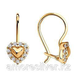 Серьги SOKOLOV серебро с позолотой, фианит , love 93020442