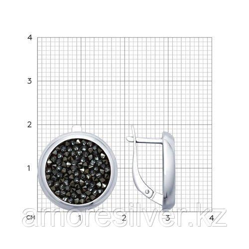Серьги SOKOLOV серебро с родием, кристалл swarovski fine rocks , многокаменка 94022680 - фото 2