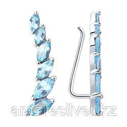 Серьги SOKOLOV серебро с родием, топаз, многокаменка 92021348