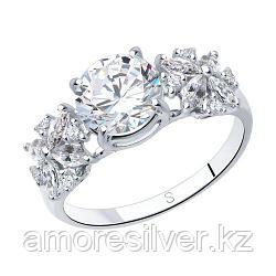 Кольцо SOKOLOV серебро с родием, фианит , фантазия 94012395 размеры - 17 17,5 18 18,5 20