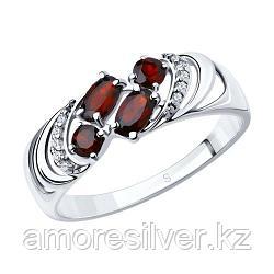 Кольцо SOKOLOV серебро с родием, гранат фианит , многокаменка 92011219 размеры - 17 17,5 18,5