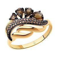 Кольцо SOKOLOV серебро с позолотой, раух-топаз фианит , многокаменка 92011420 размеры - 16,5