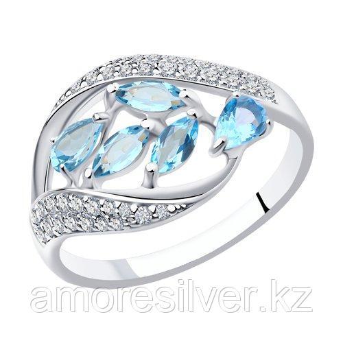 Кольцо SOKOLOV серебро с родием, топаз фианит , многокаменка 92011363 размеры - 18 19