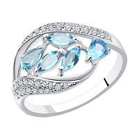 Кольцо SOKOLOV серебро с родием, топаз фианит , многокаменка 92011363 размеры - 18