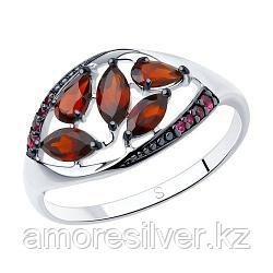 Кольцо SOKOLOV серебро с родием, гранат корунд синт. 92011348 размеры - 17