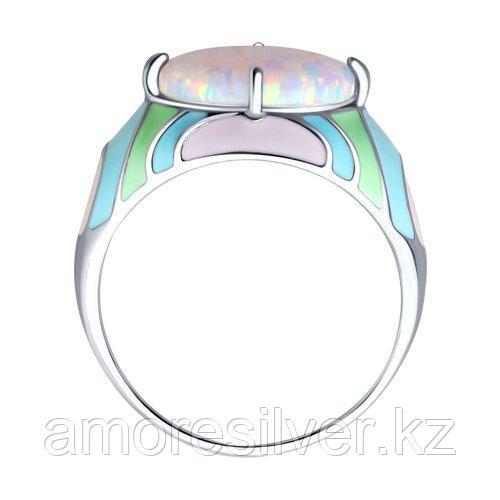 Кольцо SOKOLOV серебро с родием, опал синт. эмаль, абстракция 83010037 размеры - 16,5 17 18 18,5 - фото 2