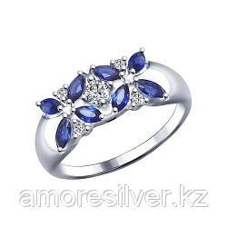 Кольцо SOKOLOV серебро с родием, фианит  корунд синт., флора 88010032 размеры - 16,5 17