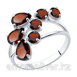 Кольцо SOKOLOV серебро с родием, гранат, многокаменка 92010014 размеры - 17,5