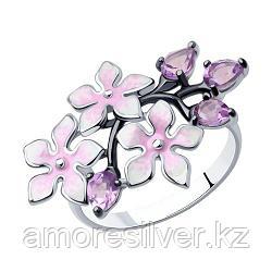 Кольцо SOKOLOV серебро с родием, эмаль аметист, флора 92011319 размеры - 18