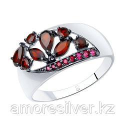 Кольцо SOKOLOV серебро с родием, гранат корунд синт., многокаменка 92011345 размеры - 17,5