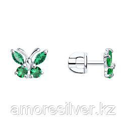 Серьги SOKOLOV серебро с родием, фианит , фауна 94020537