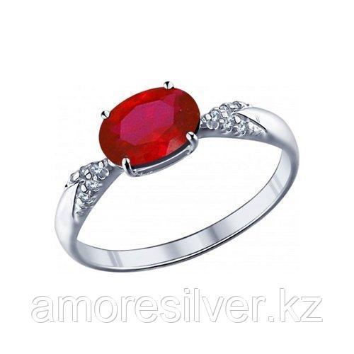 Кольцо SOKOLOV серебро с родием, фианит  корунд синт. 84010020 размеры - 19