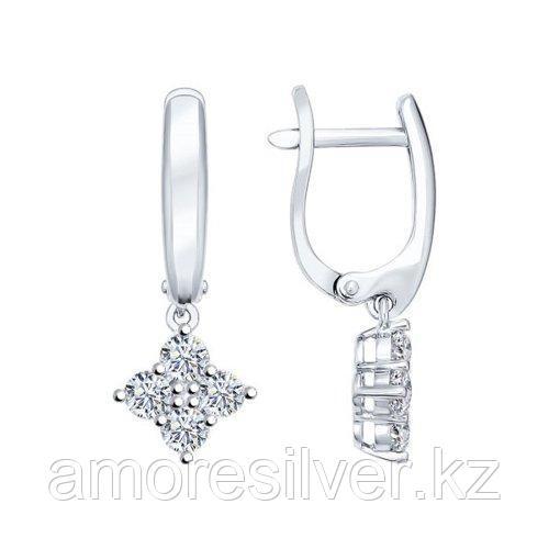 Серьги SOKOLOV серебро с родием, фианит  94021930