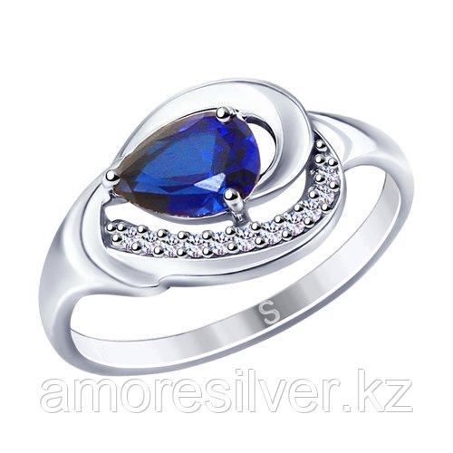 Кольцо SOKOLOV серебро с родием, фианит  корунд синт. 88010055 размеры - 17 18,5