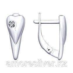 Серьги SOKOLOV серебро с родием, бриллиант 87020013