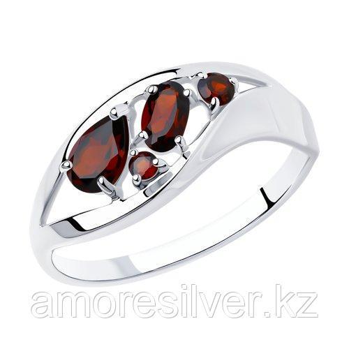 Кольцо SOKOLOV серебро с родием, гранат 92011575 размеры - 16