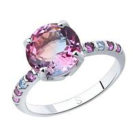 Кольцо SOKOLOV серебро с родием, ситал синт. фианит , многокаменка 92011717 размеры - 18,5