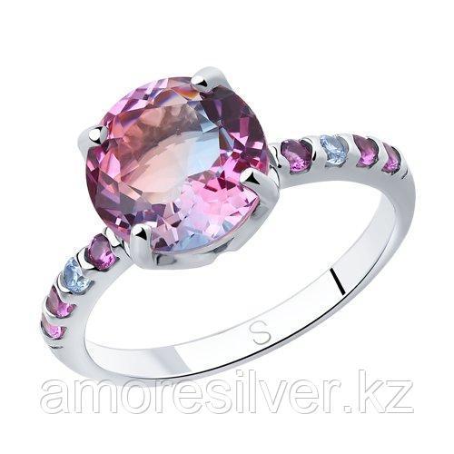 Кольцо SOKOLOV серебро с родием, ситал синт. фианит , многокаменка 92011717 размеры - 18,5 - фото 1