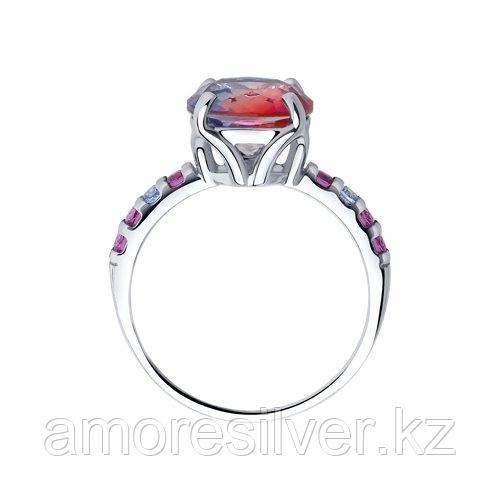 Кольцо SOKOLOV серебро с родием, ситал синт. фианит , многокаменка 92011717 размеры - 18,5 - фото 2