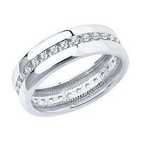 Обручальное кольцо SOKOLOV серебро с родием, фианит 94110026 размеры - 15 15,5 16 16,5 17 17,5 18 18,5 19