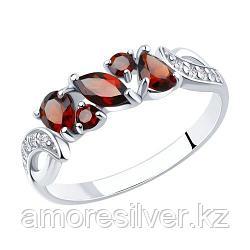 Кольцо SOKOLOV серебро с родием, гранат фианит  92011594 размеры - 17,5 18 18,5 19,5