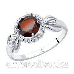 """Кольцо SOKOLOV серебро с родием, гранат фианит , """"halo"""" 92011675 размеры - 16 16,5 18,5"""