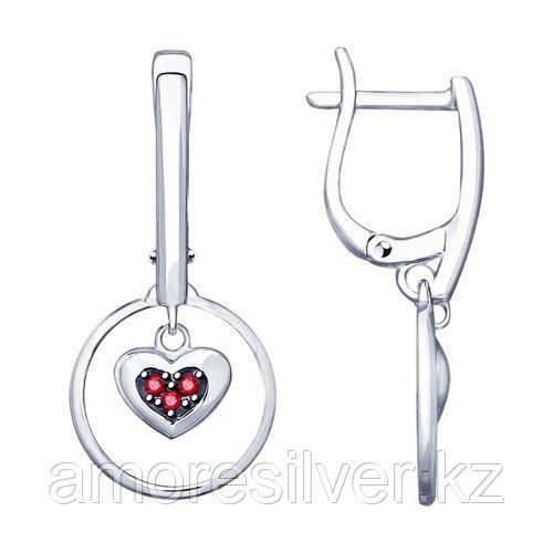 Серьги SOKOLOV серебро с родием, корунд синт., с английским замком, символы 94023085