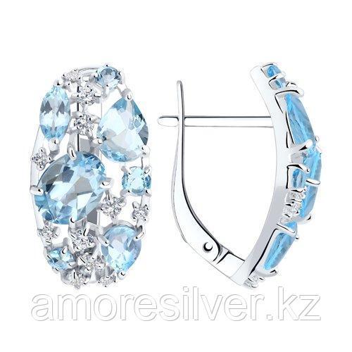 Серьги SOKOLOV серебро с родием, топаз фианит , многокаменка 92020171