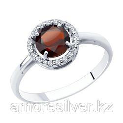 """Кольцо SOKOLOV серебро с родием, гранат фианит , """"halo"""" 92011018 размеры - 16,5 17,5 18"""