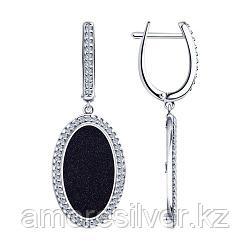 Серьги SOKOLOV серебро с родием, авантюриновое стекло фианит , овал 83020057