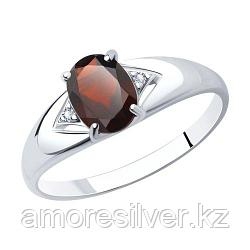 Кольцо SOKOLOV серебро с родием, гранат фианит  92011505 размеры - 16 17 17,5 18 20
