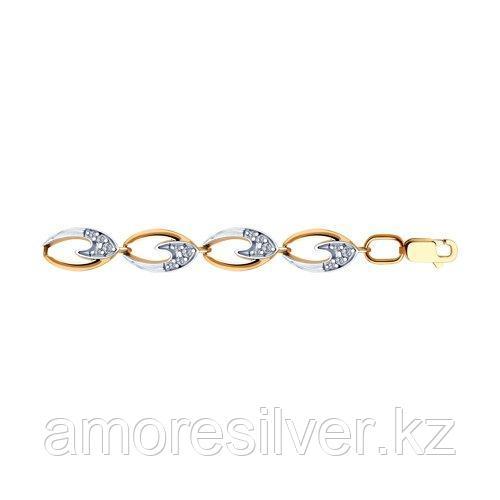 Браслет SOKOLOV серебро с позолотой, фианит  93050120 размеры - 18 19